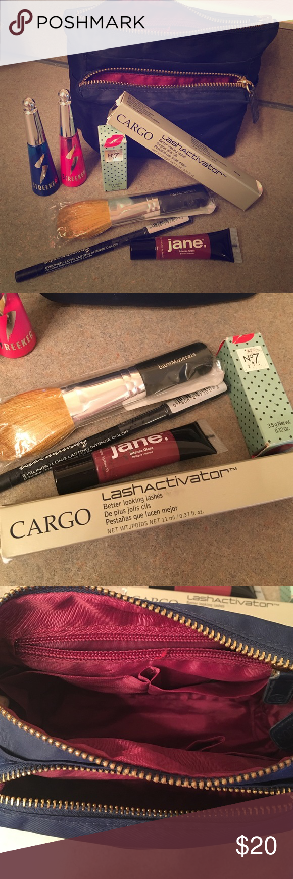 """Makeup Bag w/New Makeup! FREE gift included. Blue makeup bag with 7 pouches for storage. Brand new Cargo Lashactivator mascara (dark brown), one new total intensity black eyeliner, one Jane """"intense berry"""" gloss, one brand new Bare Minerals brush, brand new No7 Poppy king lipstick. 2 Streekers temporary hair highlighter (blue and pink). Additional surprise free gift included. Cheaper on Ⓜ️ercari bareMinerals Makeup"""
