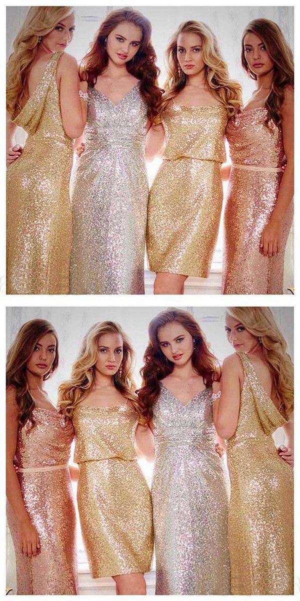 3a5ed3d2268 Sexy Fabulous 2018 Gold Sparkly Mismatched Sequin Long Bridesmaid Dresses
