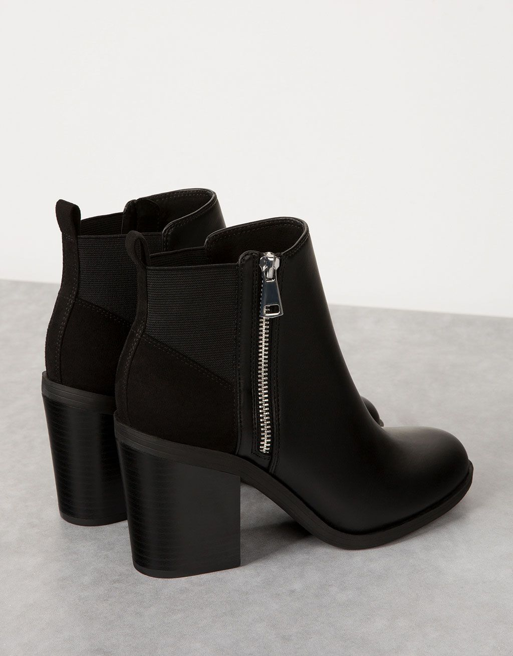 Boots à talon bimatière Noir 8Jj0fo