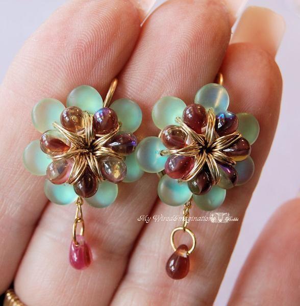 fanciful beaded flower earrings - for sale