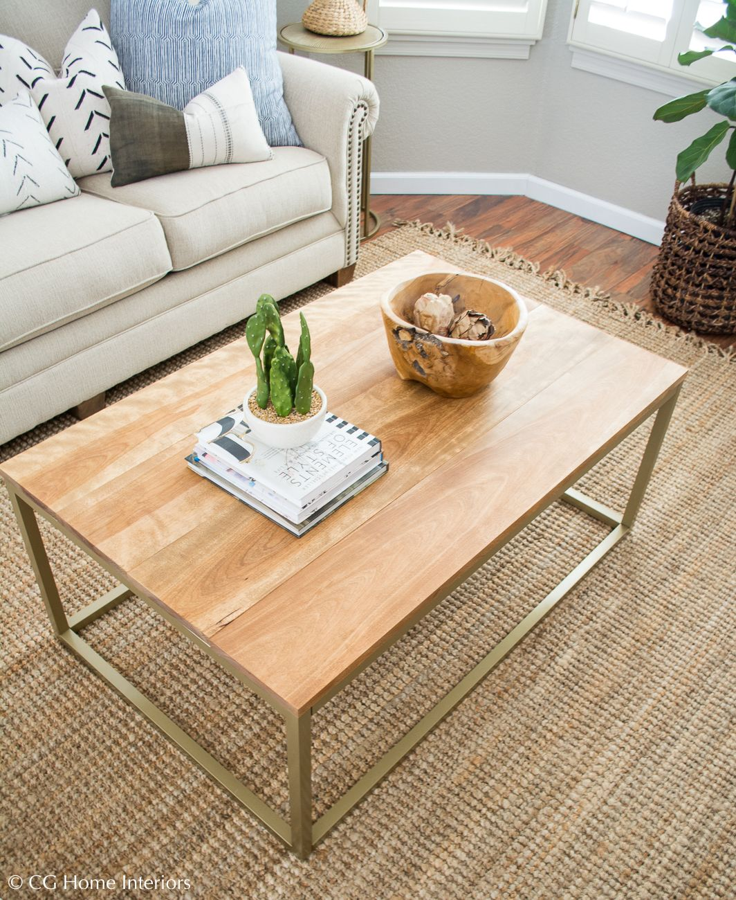 Diy Gold And Wood Coffee Table Wood Coffee Table Diy Gold Wood Gold Coffee Table