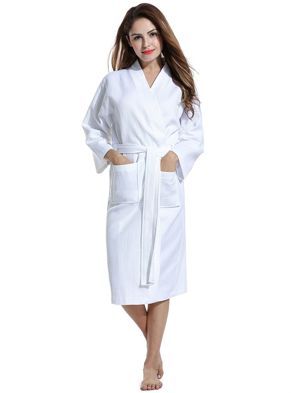 Avidlove Men Women Soft Waffle-Weave Bathrobe Kimono Spa Hotel Cotton Robe  Sleepwear   Click image to review more details. 17f8c27ef