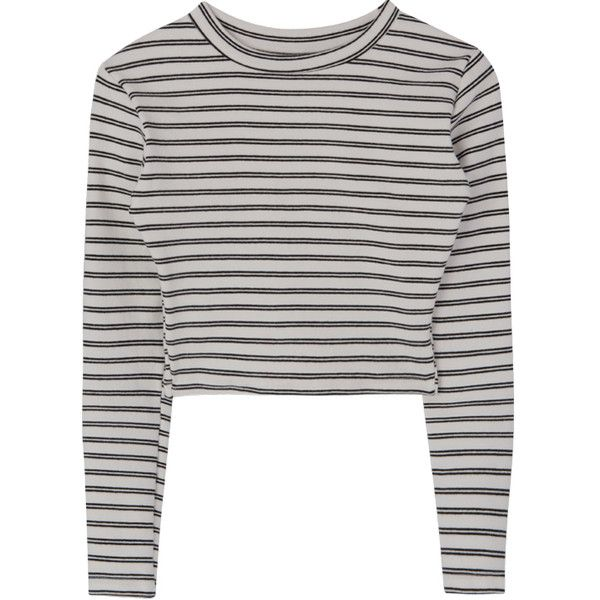 Striped Round Neck Crop Top (€32) ❤ liked on Polyvore featuring tops, bunny top, round neck top, cropped tops, white striped top and round neck crop top