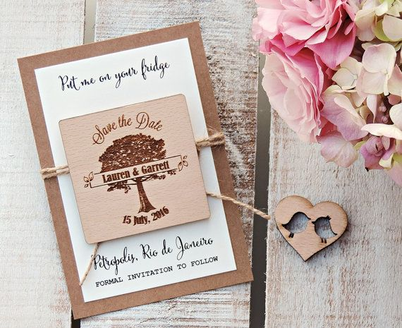 Custom Floral Wedding Magnet Cotton Save the Date Magnet Wood Save the Date Magnet Personalized Wedding Card Rustic Wooden Invitation
