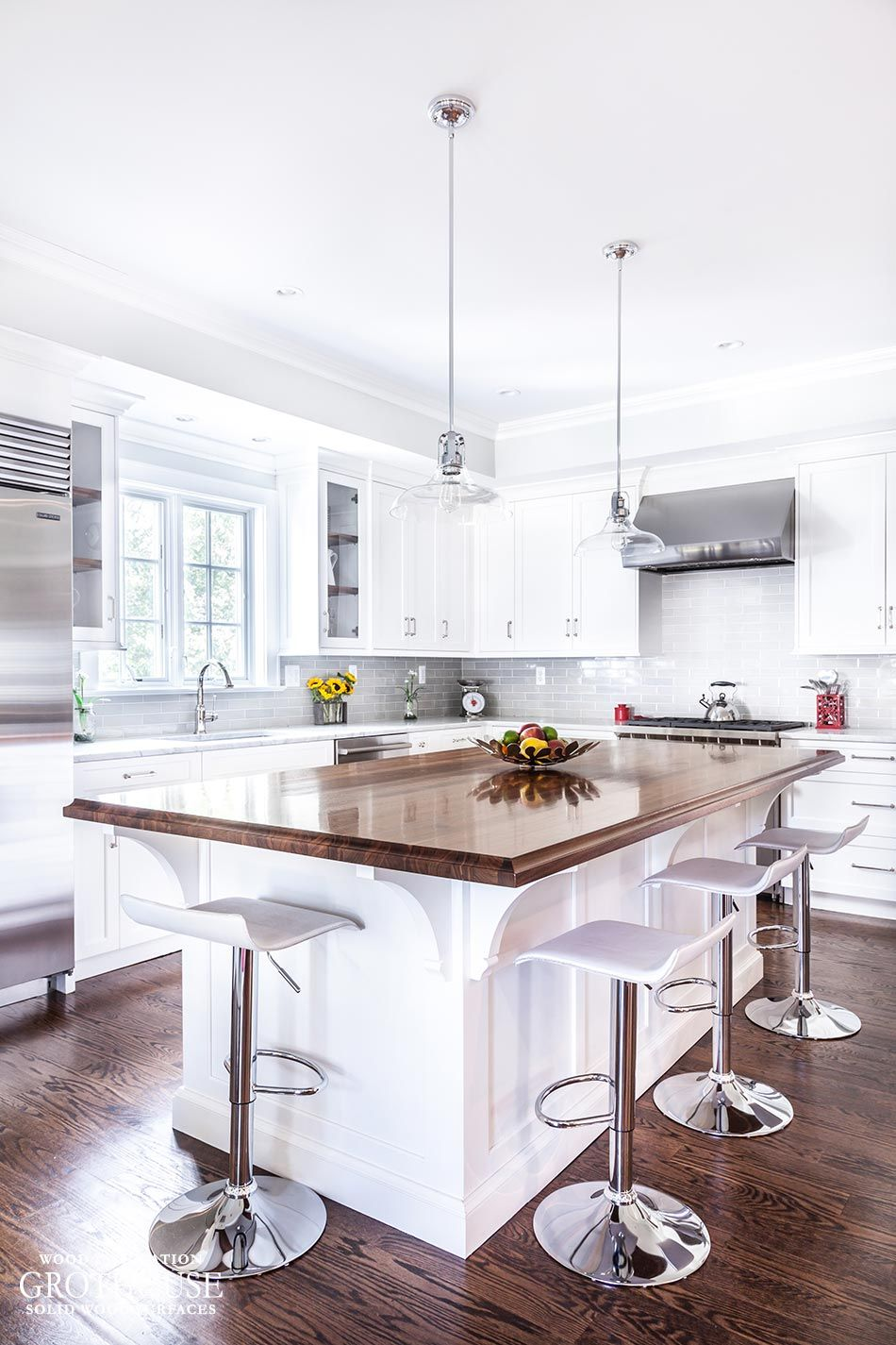 Walnut with Sapwood Kitchen Island Countertop with a 3/4″ Cove on ...