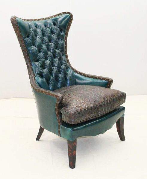 Turquoise Accent Chairs Streit Slumber Chair Old Hickory Tannery Deep Wing Western Jewel Tone Leather With Embossed Gator Seat And Trim