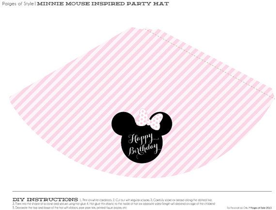 Minnie Mouse Party Hat Printable  Miney Mouse Party