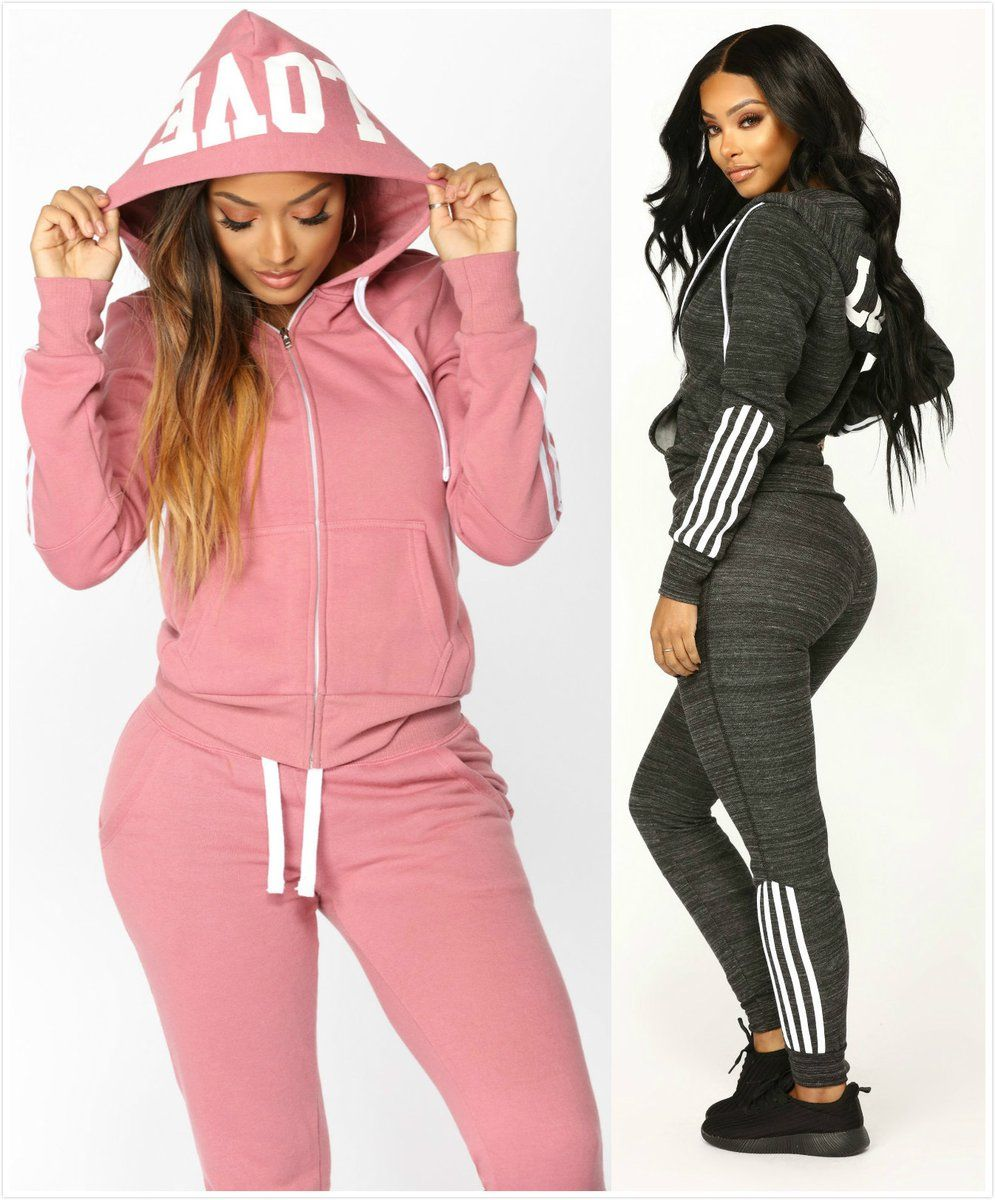 Women Ladies 2Pcs Tracksuit with Hoodie Sets Gym Sports Casual Lounge wear