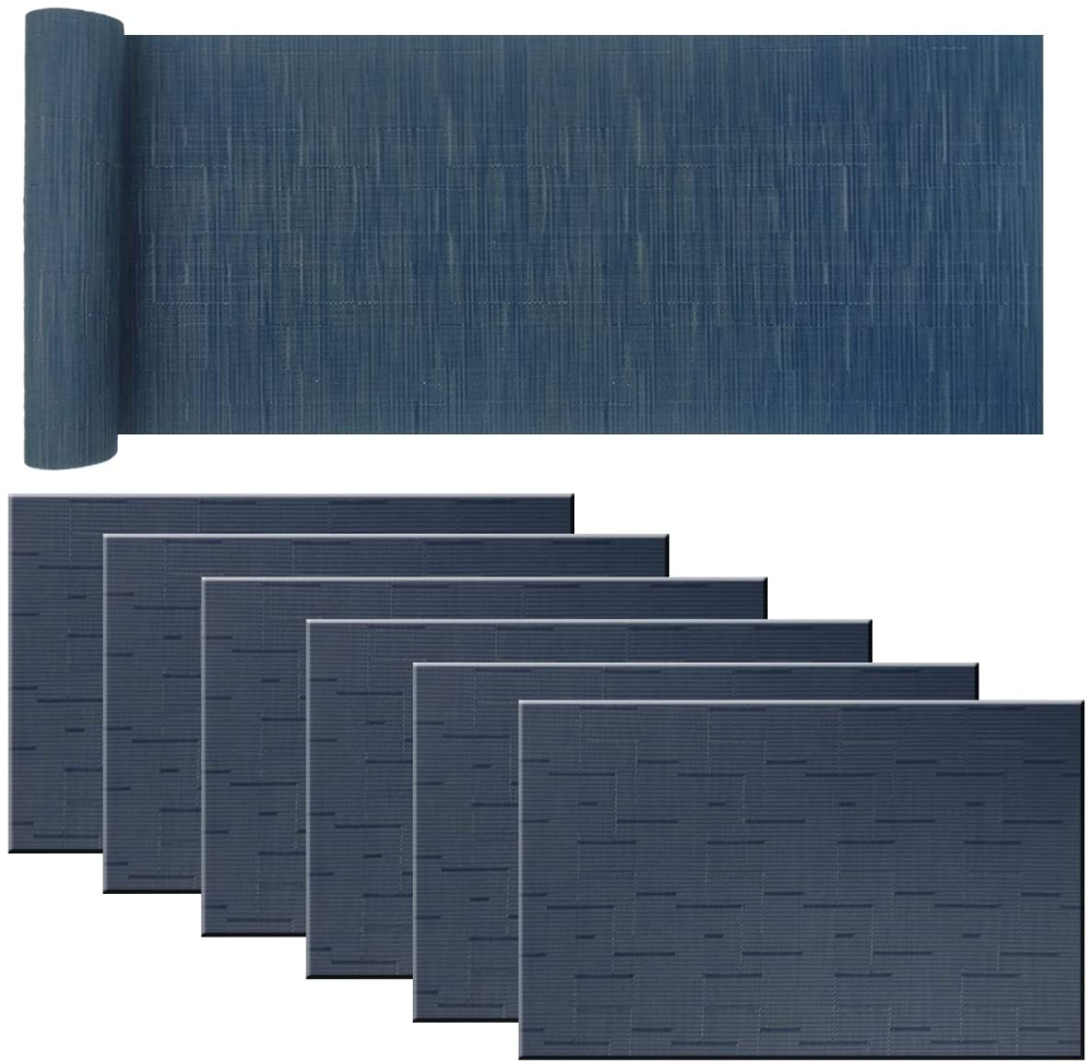 Amazon Com Plastic Placemats Non Slip Washable Placemats For Dining Table Wipe Clean Table Mats Set Of 6 Navy Blue Home Blue Placemats Placemats Table Mats