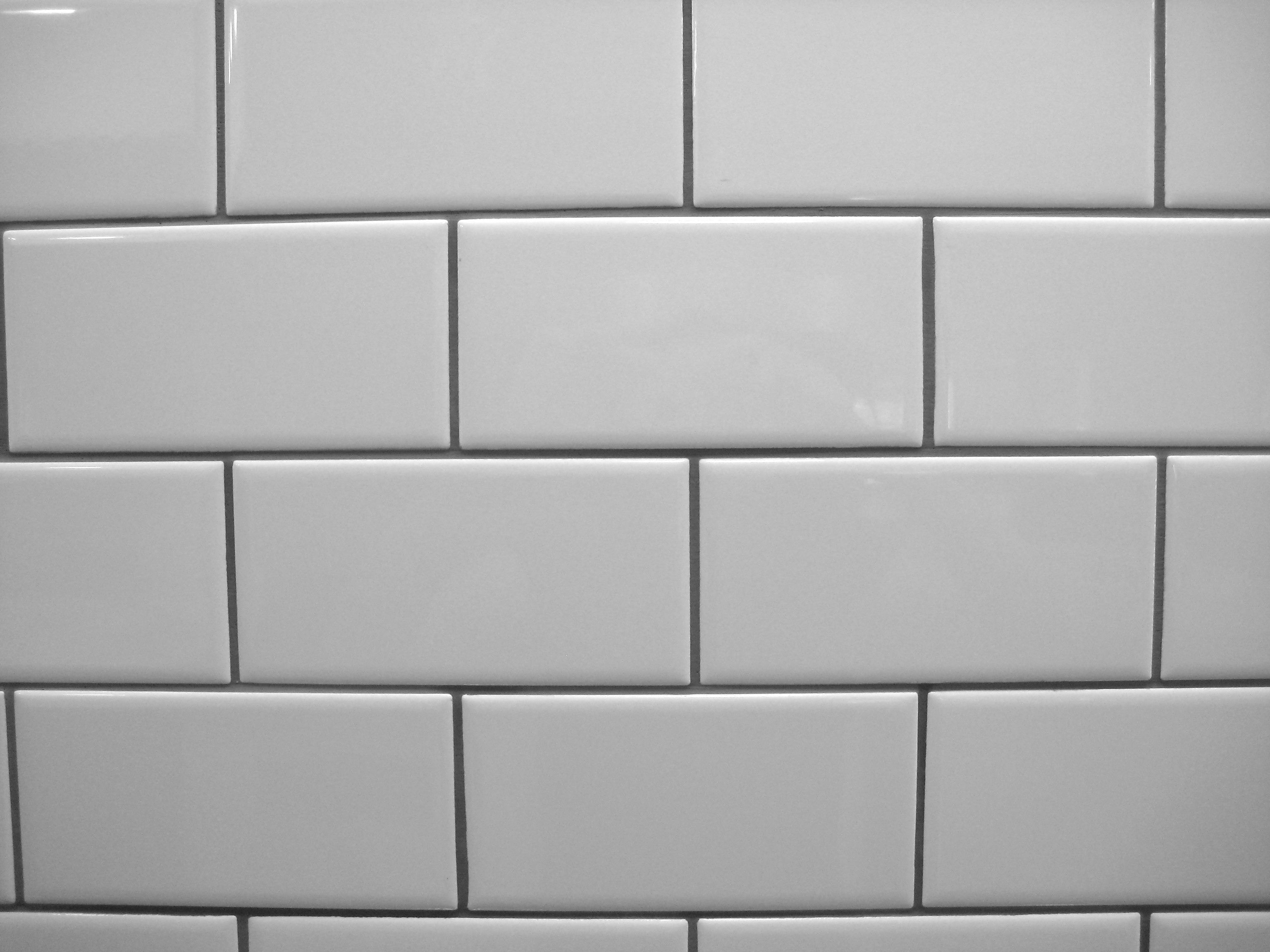 white tiles with grey grout | Black White Subway Tile with Grout ...