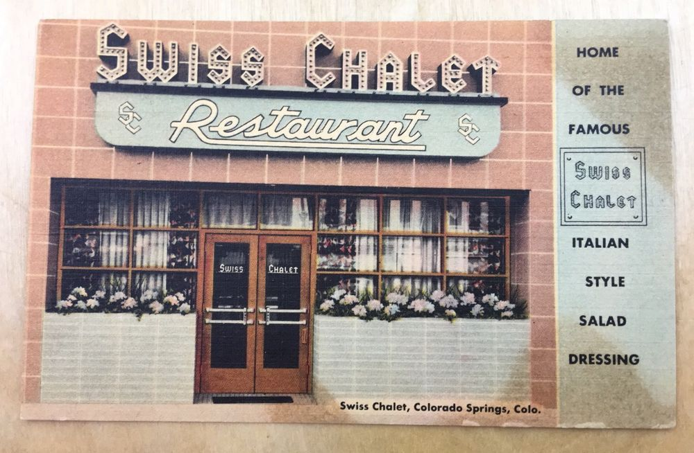 COLORADO SPRINGS, CO Colorado   SWISS CHALET Restaurant c1940s Linen   Postcard  | eBay