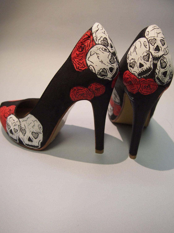 299b2cd64d29 Hand painted high heels skulls and roses Custom by EnukaCustom ...