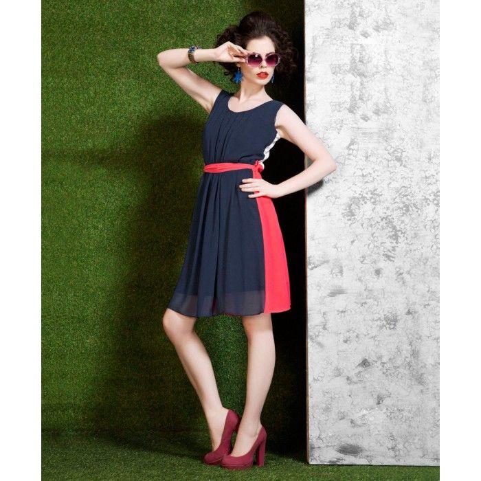 Blue & Pink Polyester Georgette Kurti