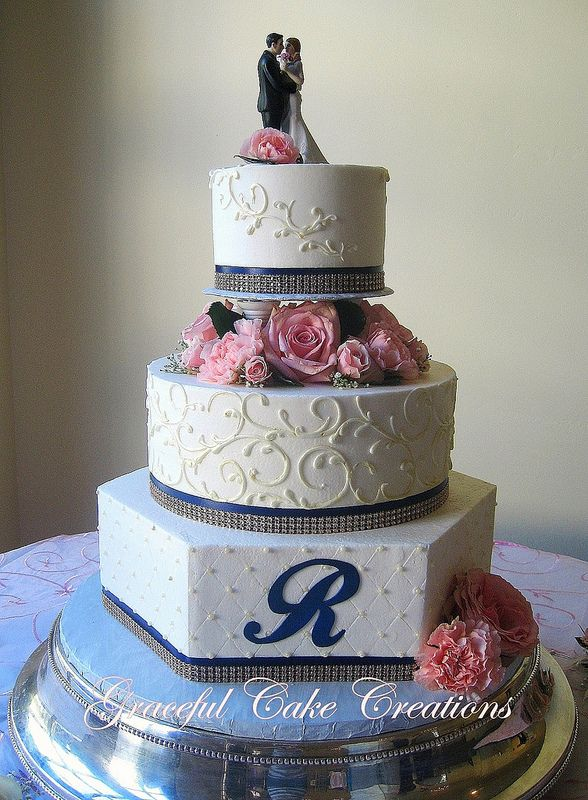 Beautiful blue wedding cake with pink and Yellow roses ... |Pink And Blue Wedding Cakes