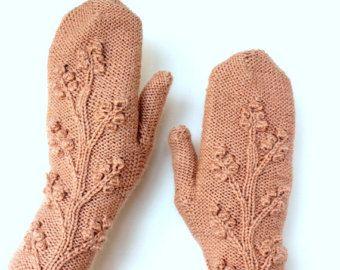 Hand Knitted Fingerless Gloves Heart Dark Grey Red Gray