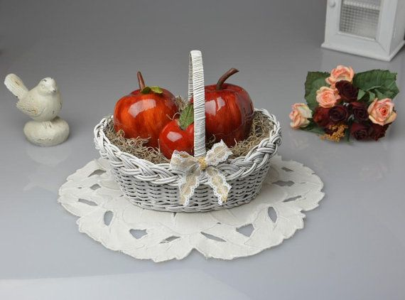 Red Ceramic Apples In Basket French Cottage Chic Home Decor Shabby