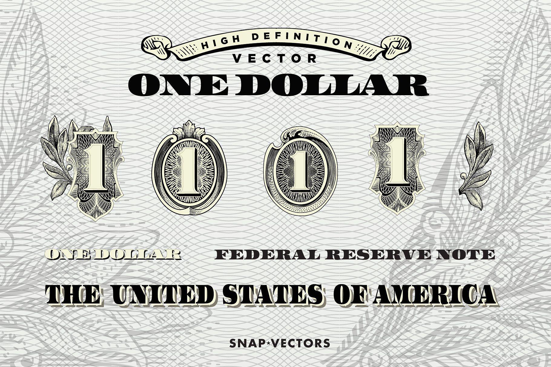 Vector One Dollar Bundle Dollar Sets Vector Money Logo One