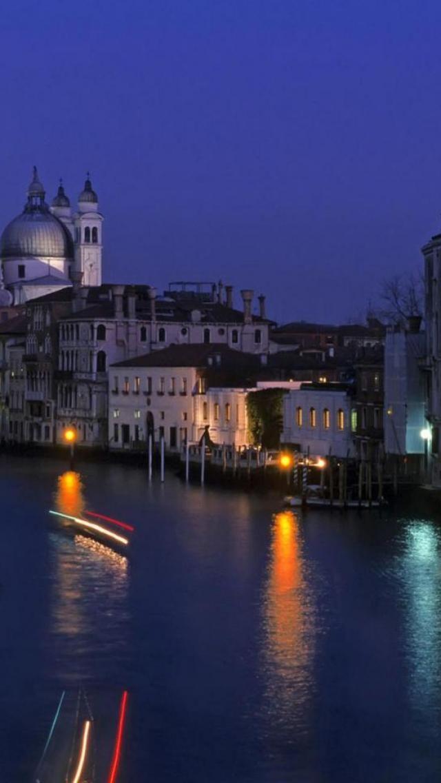 Venice, Night, Italy, City**.