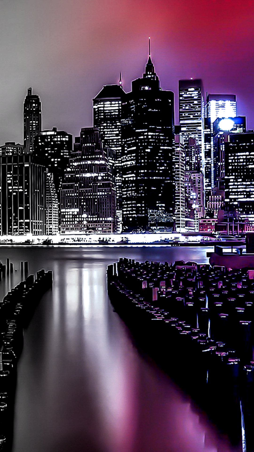 Night City Lights. Gradient light filter iPhone wallpapers