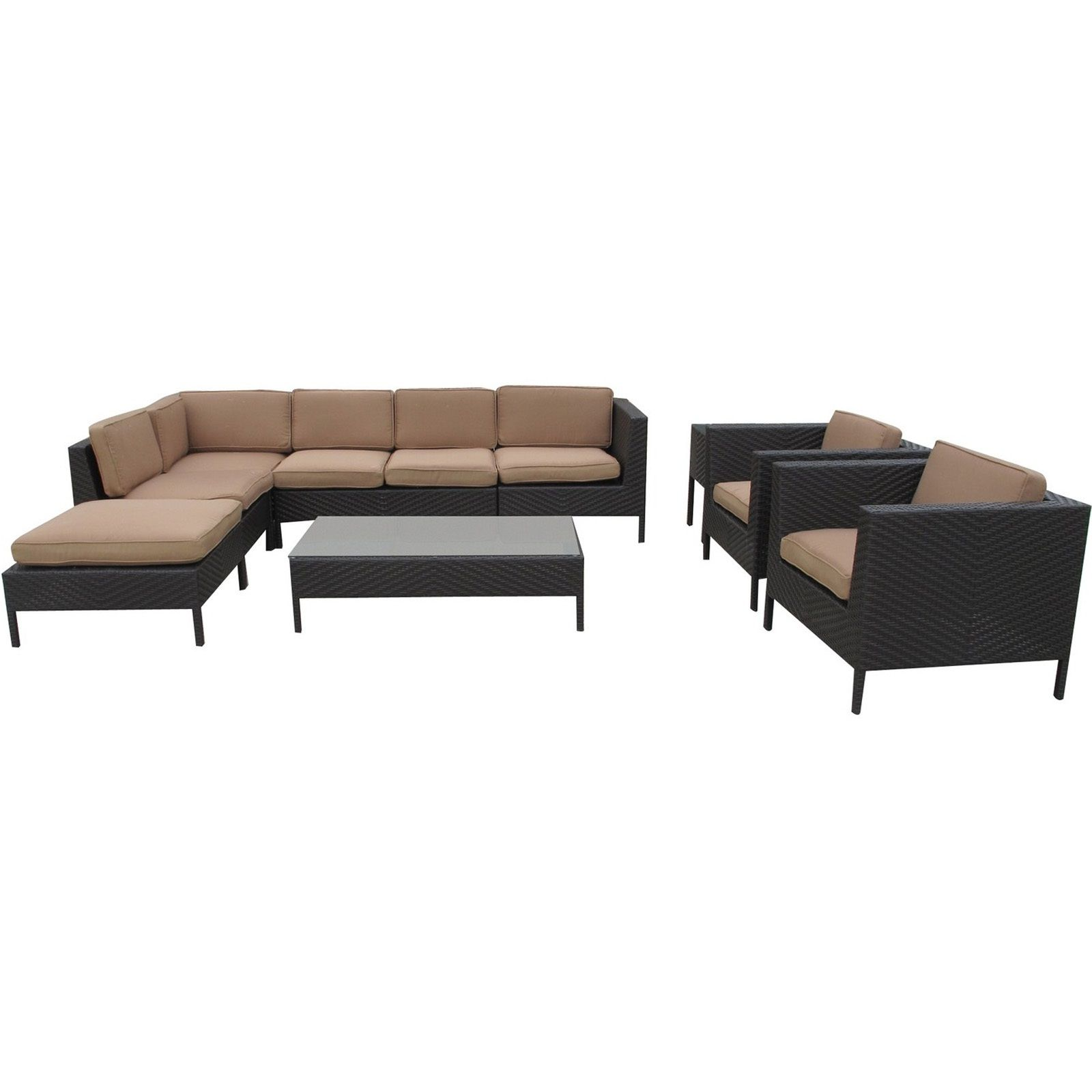 La Jolla Outdoor Wicker Patio 9 Piece Sectional Sofa Set in