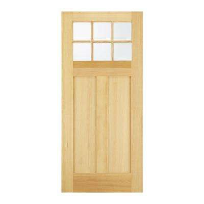 30 In X 80 In Craftsman 6 Lite Unfinished Wood Fir Front