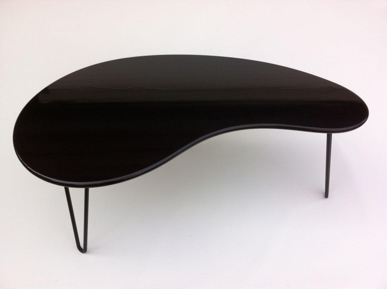 Black Mid Century Modern Coffee Table - Kidney Bean Shaped ...