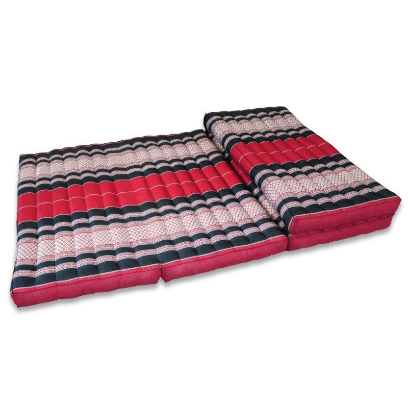 Matte Thai Sofa Blüten rot-schwarz 200x100cm -...