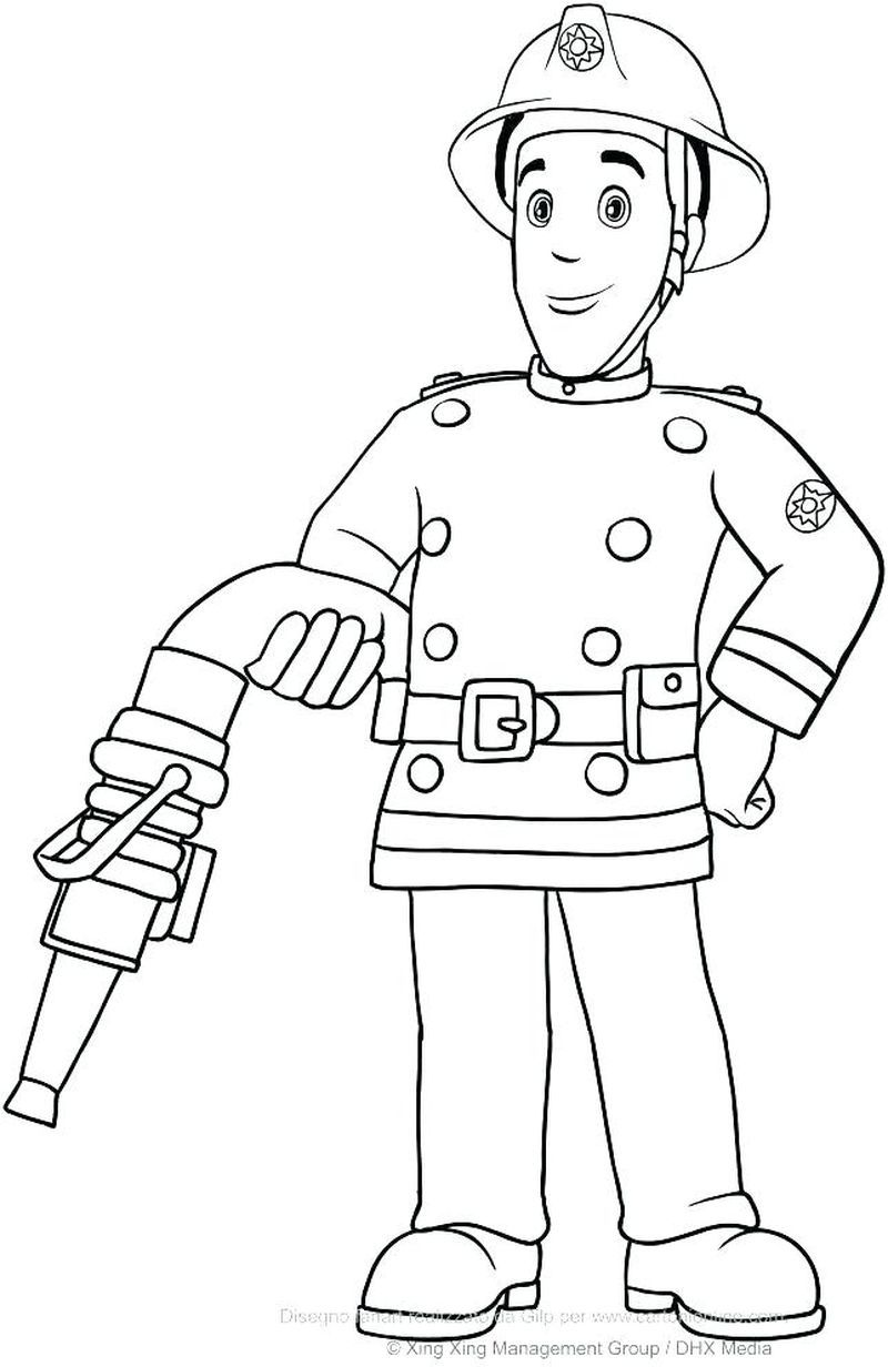 Thank You Fireman Coloring Page
