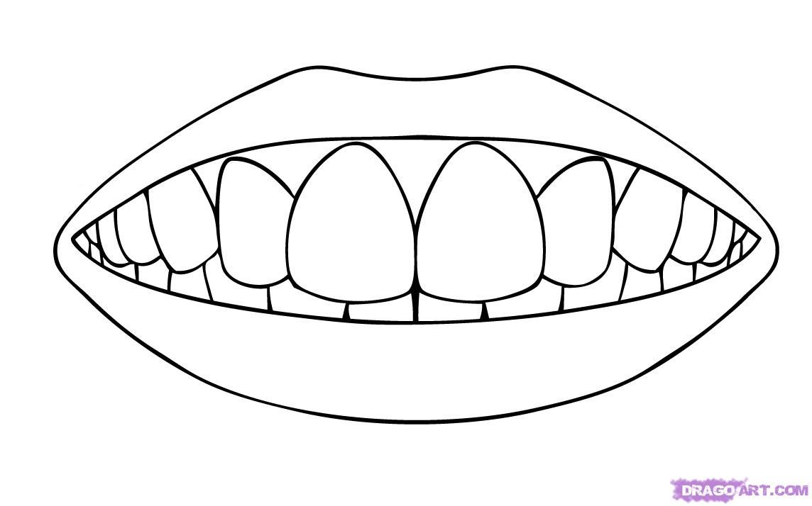 Mouth With Teeth Coloring Pages Tooth Template Coloring Pages Teeth