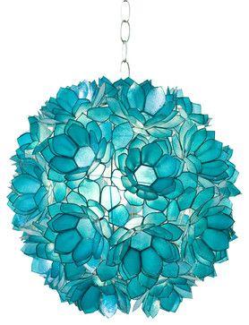 Worlds Away Turquoise Capiz Shell Lotus Pendant VENUS T traditional-pendant-lighting