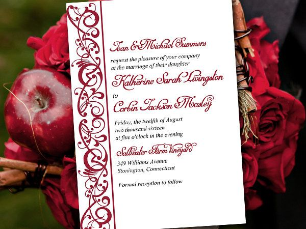 DIY Wedding Invitation Template - Apple Invitation  - ms word invitation templates