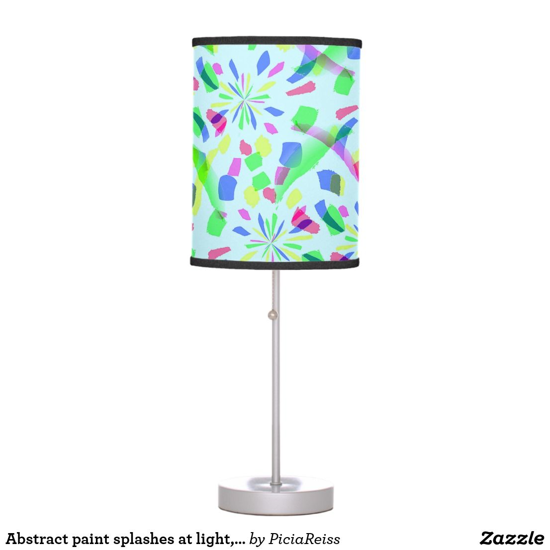 Abstract Paint Splashes At Light Sky Blue Colors Table Lamp