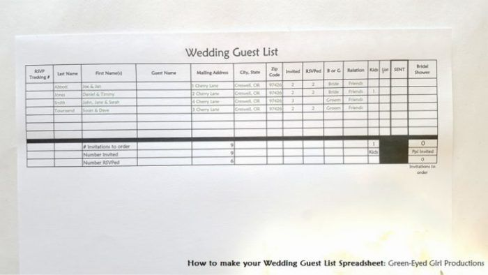 How to Make your Wedding Guest List Spreadsheet Tutorial and - how to create a spreadsheet
