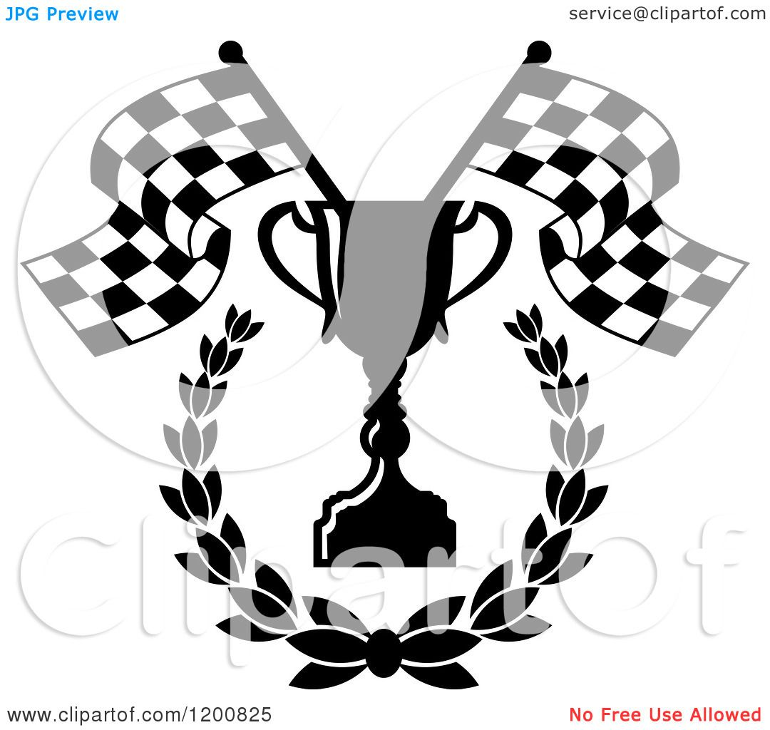 Clipart Of A Black And White Racing Trophy Cup Laurel Checkered Flags