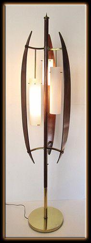 MCM Lamp Wood and Brass Lamp Retro Lamp Tall Mid Century Lamp #1 Tall Lamp Danish Modern Lamp Teak Lamp Sculptural Wood Lamp