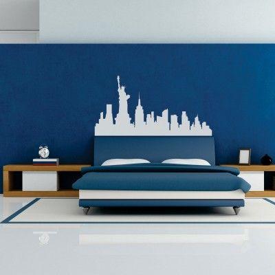 Adesivi Murali Skyline New York.Adesivo Murale Lo Skyline Di New York Usa Con Statua Della