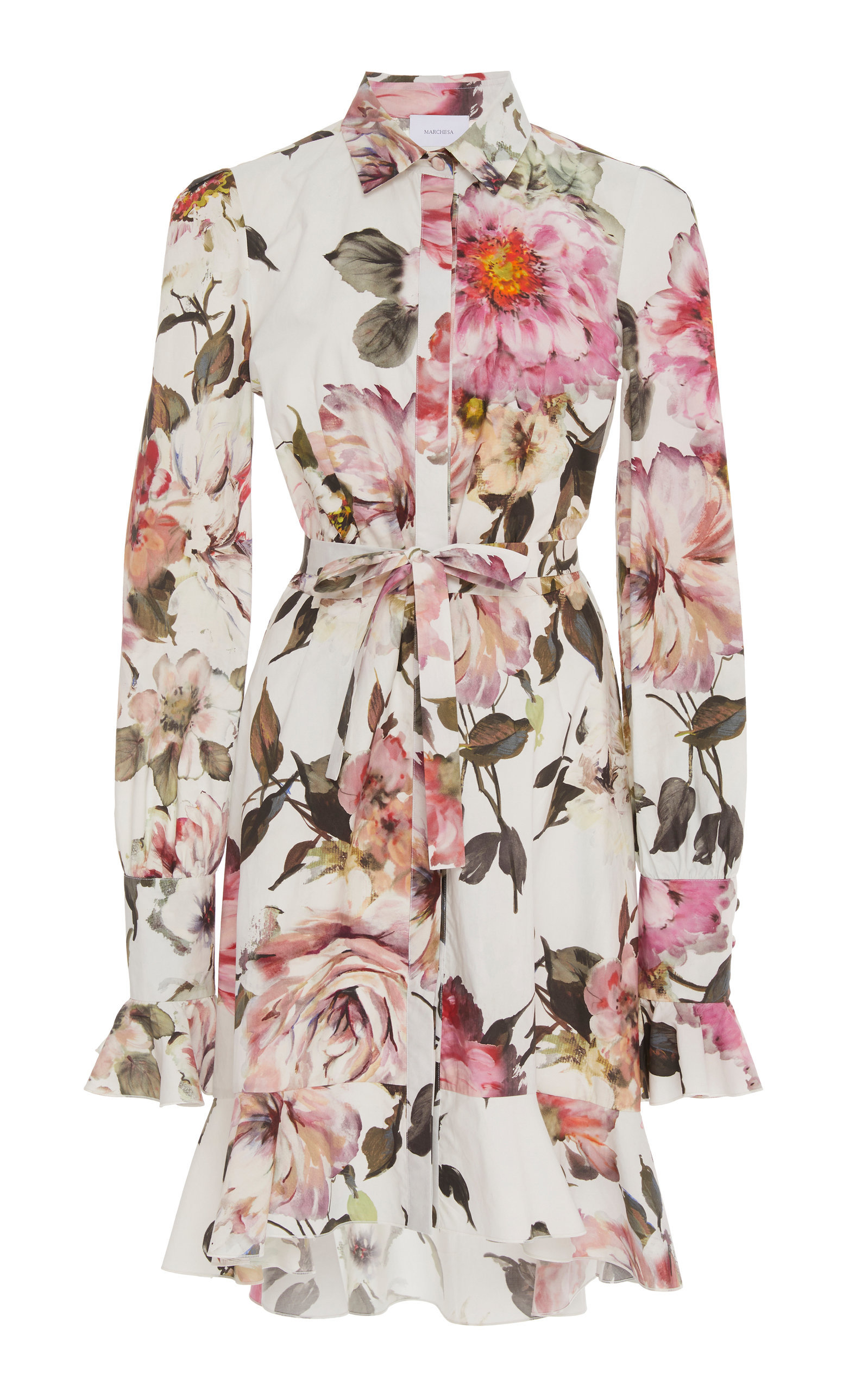 bf0610fd0f1 Marchesa Floral-Printed Cotton High-Low Mini Shirt Dress in 2019 ...