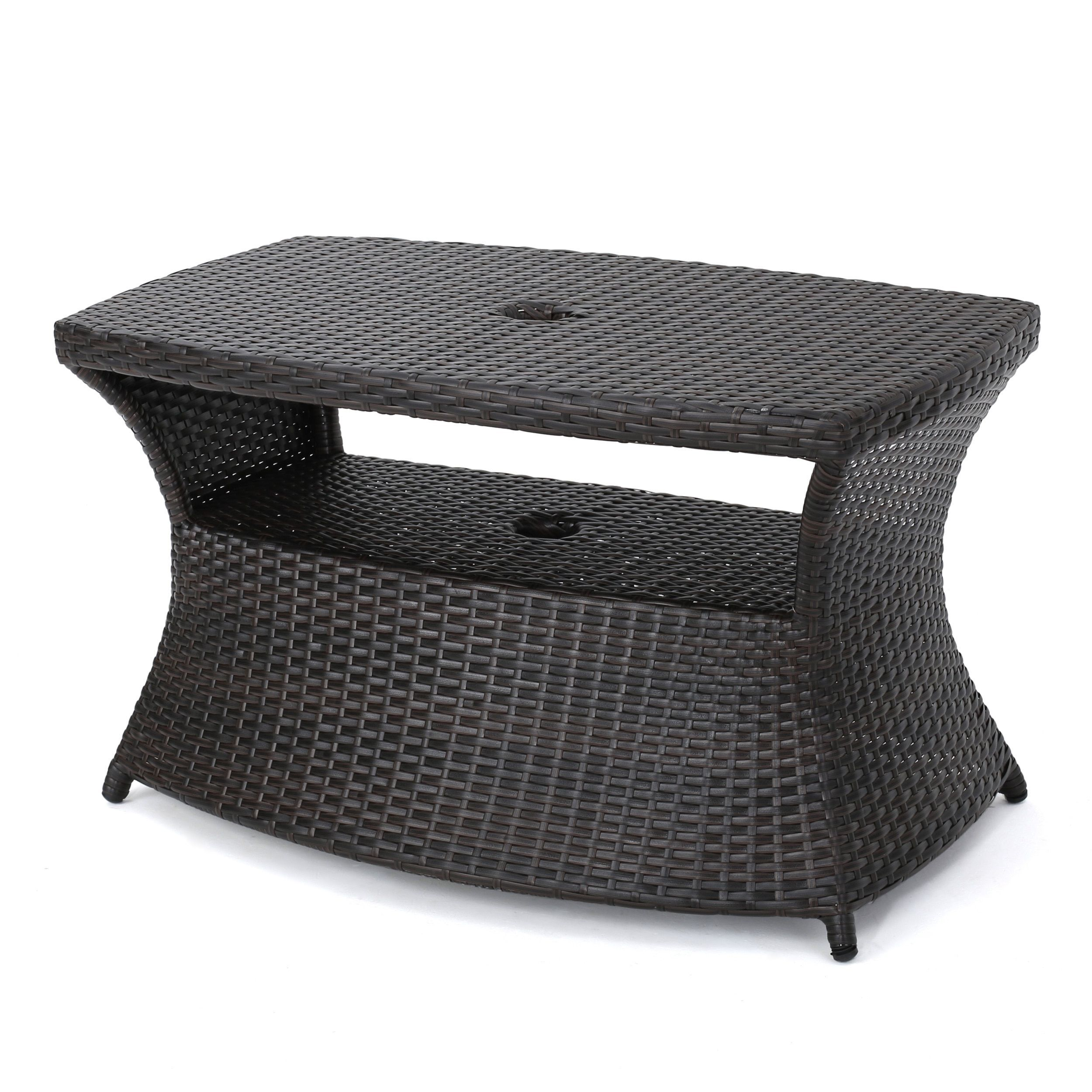 Berkeley Outdoor Wicker Side Table With Umbrella Hole By Christopher - All weather wicker side table