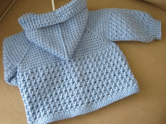 Light Blue Crochet Baby Sweater with Hood for Boy - Tunisian Crochet ...