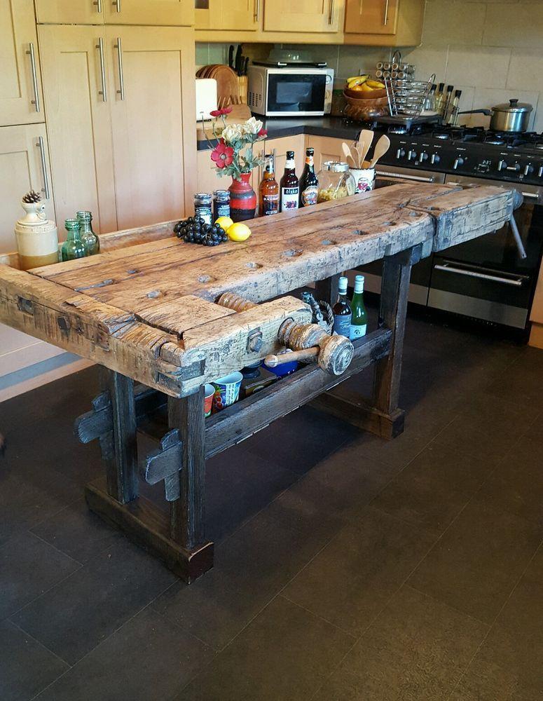 Solid Oak Antique Carpenters Workbench Kitchen Island Butchers Block Rustic Kitchen Island