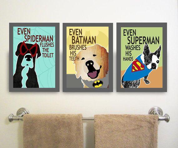 PRINTABLE Superhero Bathroom Decor Kids Superhero Bathroom Signs ...