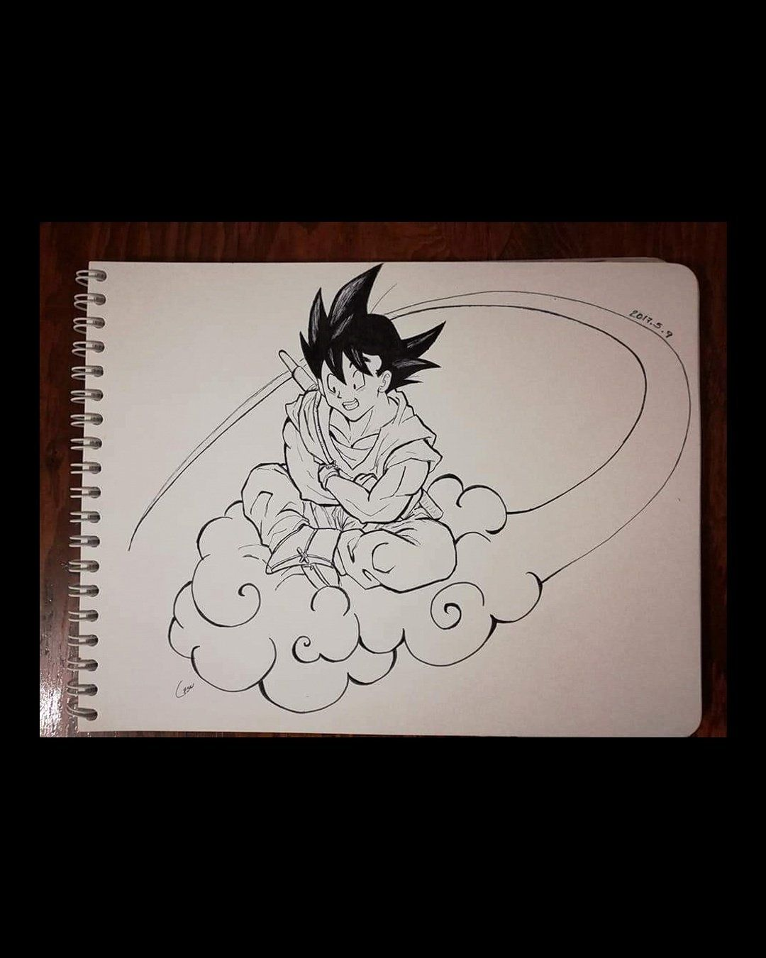 Goku on his flying nimbus ☁️ by xiuhcoatlicue dragonball