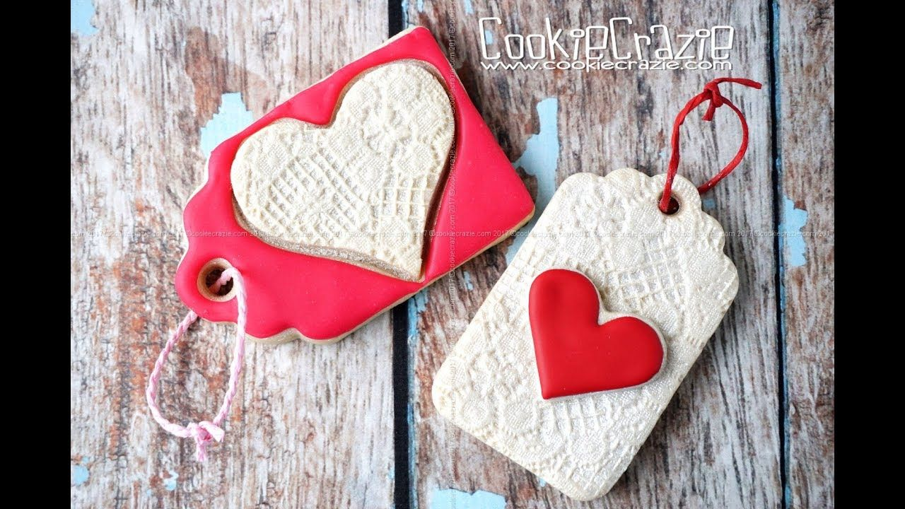 Lacy Valentine Heart Gift Tag Decorated Cookies Tutorial Video