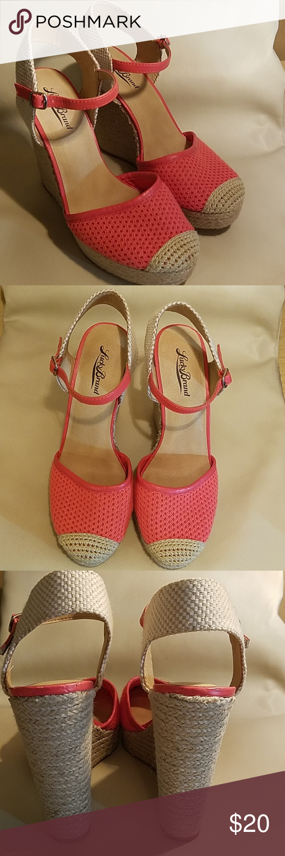 2a6e4594871 Lucky Brand Reandra Woven Espadrlle Wedges New! Woven and Coral lucky brand Reandra  Espadrille Platform. Heel 5 inches with adjustable ankle straps Lucky ...