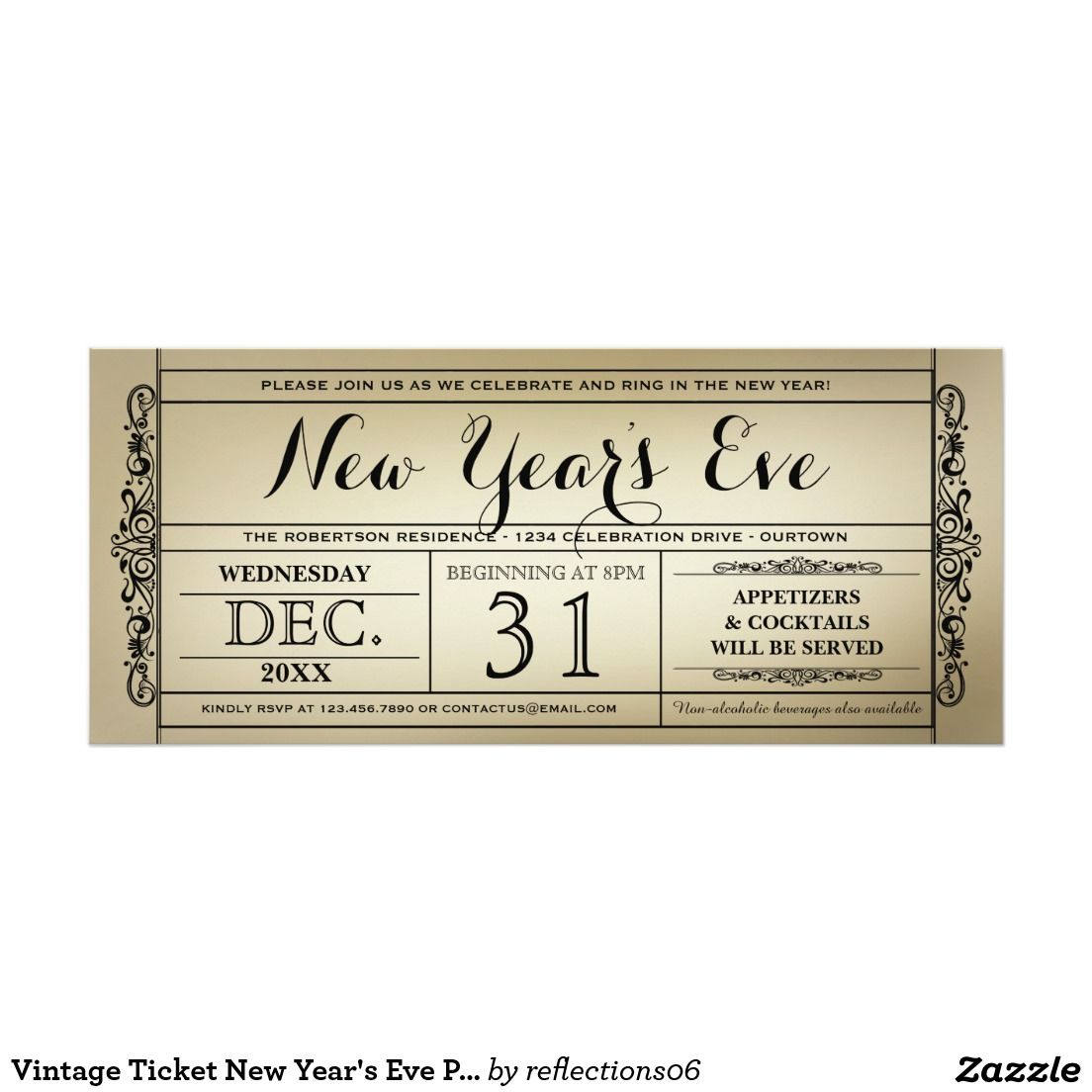 Vintage Ticket New Year\'s Eve Party Invitations #zazzle   New ...