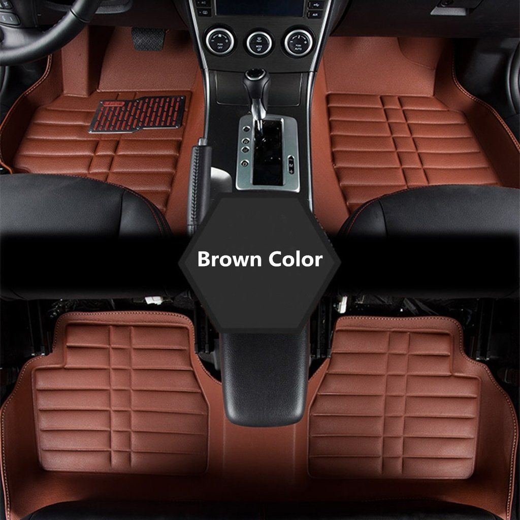 New 5pcs Brown Black Leather Universal Auto Car Floor Mats Front Rear Liner Weather Set Car Floor Mats Floor Mats