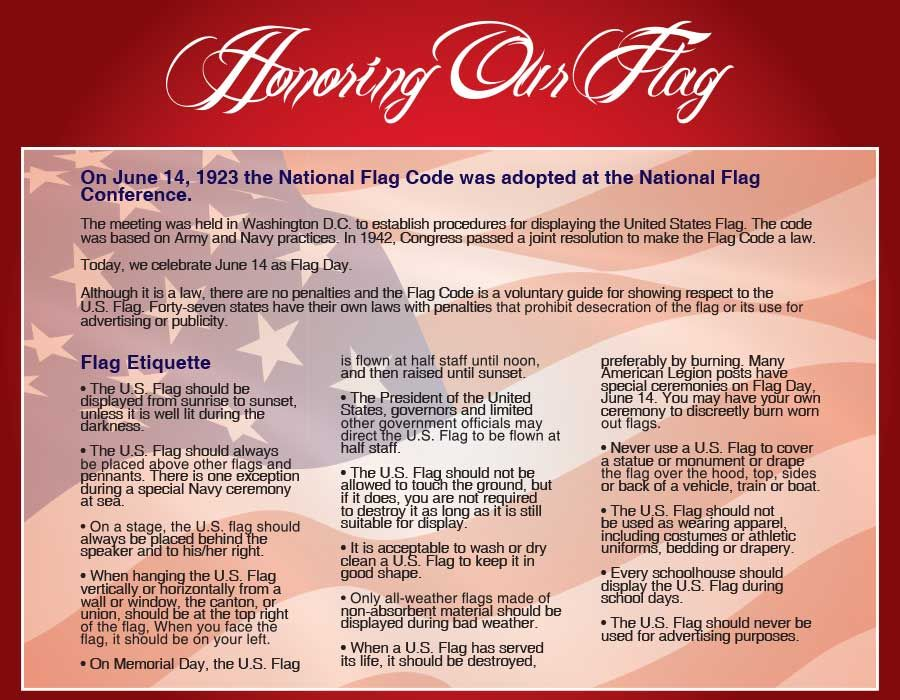 Honoring Respecting The American Flag Public Law 94 344 Known As The Federal Flag Code There Are Rules For Hand American Flag Rules Flag Code Flag Rules