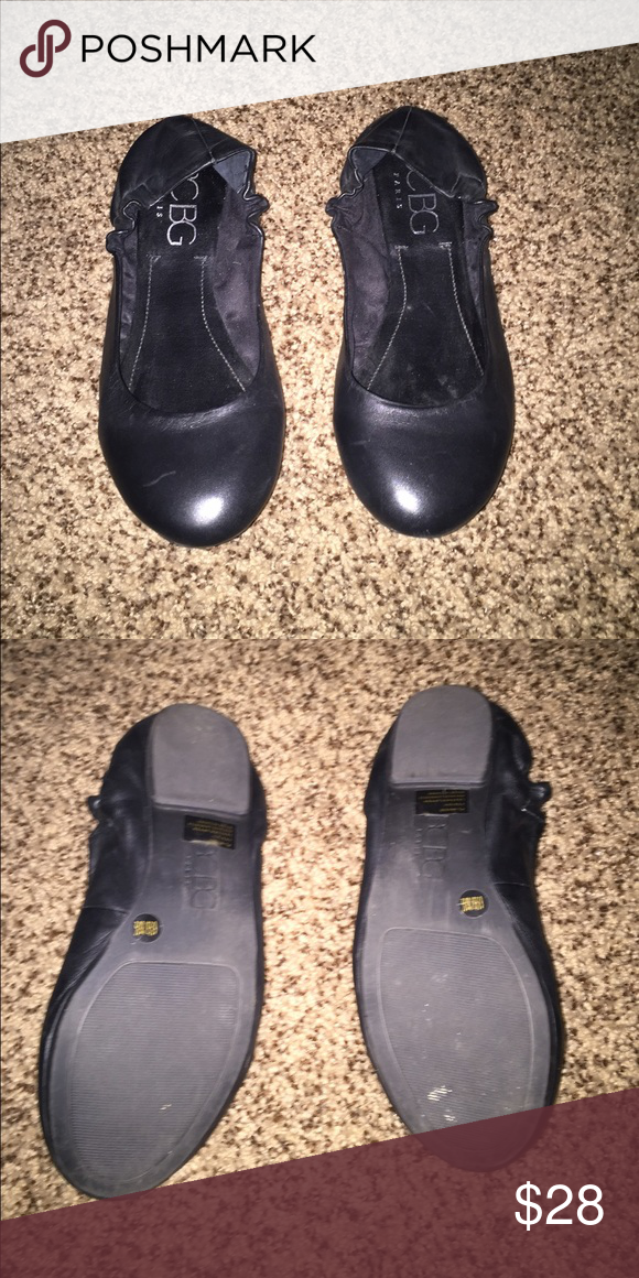 Black flats BCBG black flats. Only worn a couple times! The backs are not worn out, that is just how it lays with the elastic on the sides. BCBG Shoes Flats & Loafers