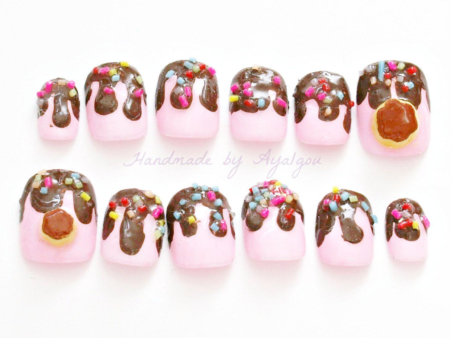 Kawaii nails, fairy kei, 3D nails, deco nails, lolita, pudding, flan ...