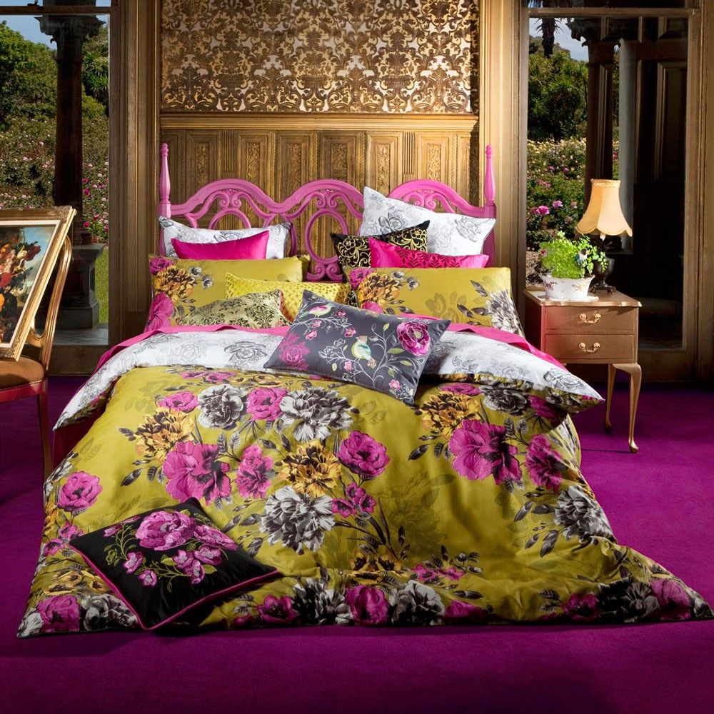 Mustard Yellow, Fuschia Floral And Slate Grey Print Bedding To Ad Warmth To  A Light